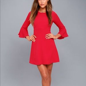Lulu's center of attention red flounce dress
